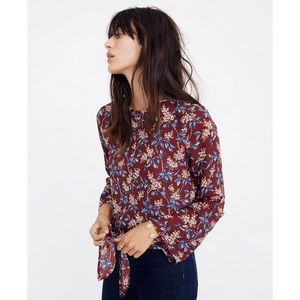 Madewell Bell-Sleeve Tie Top in Antique Flora M